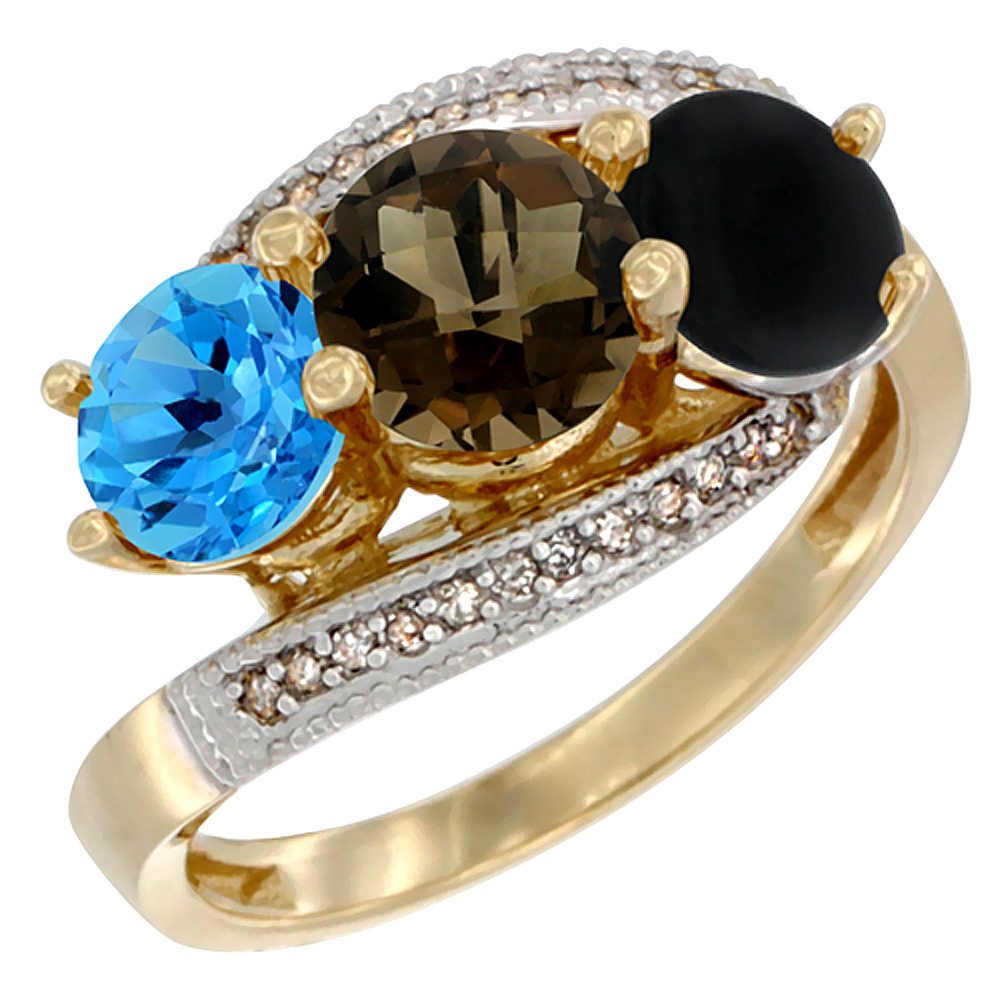 10K Yellow Gold Natural Swiss Blue Topaz, Smoky Topaz & Black Onyx 3 stone Ring Round 6mm Diamond Accent, sizes 5 - 10