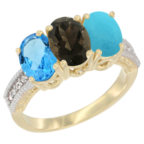 10K Yellow Gold Diamond Natural Swiss Blue Topaz, Smoky Topaz & Turquoise Ring 3-Stone Oval 7x5 mm, sizes 5 - 10