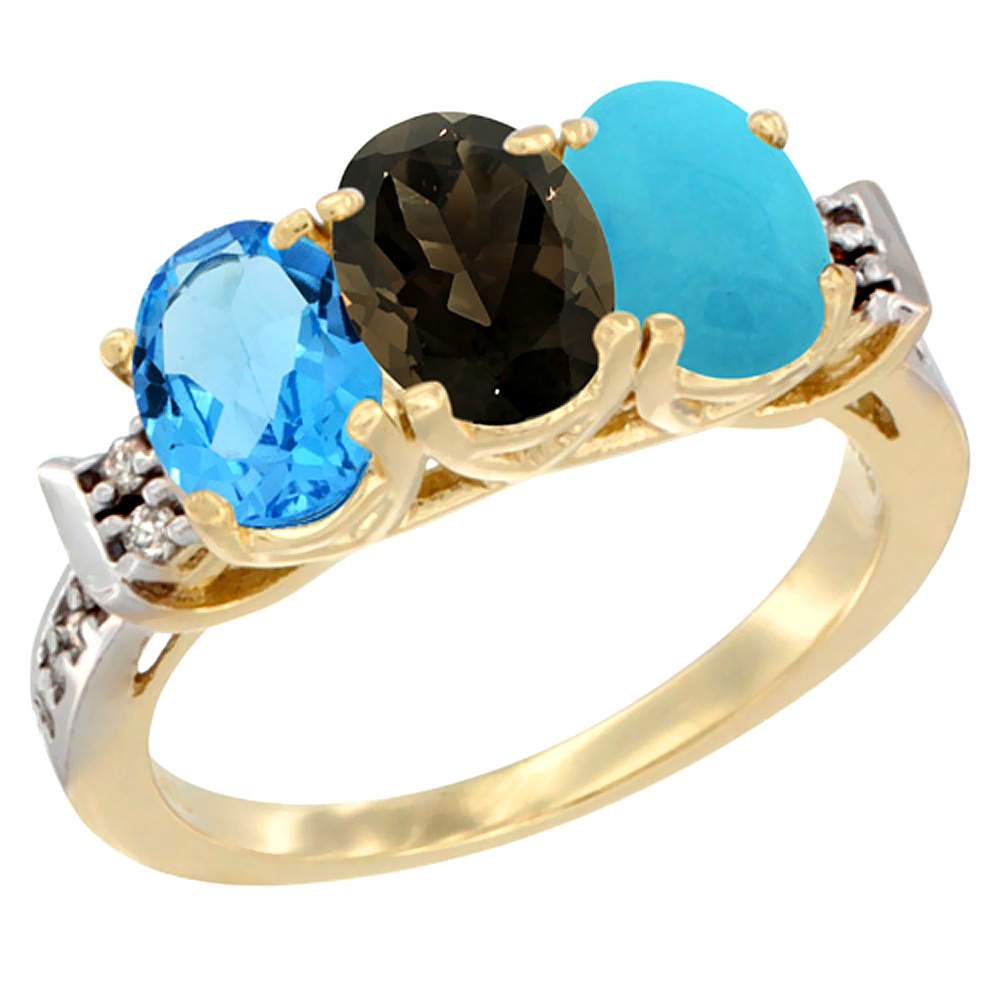 10K Yellow Gold Natural Swiss Blue Topaz, Smoky Topaz & Turquoise Ring 3-Stone Oval 7x5 mm Diamond Accent, sizes 5 - 10