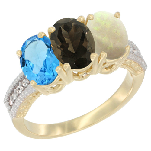 10K Yellow Gold Diamond Natural Swiss Blue Topaz, Smoky Topaz & Opal Ring 3-Stone Oval 7x5 mm, sizes 5 - 10