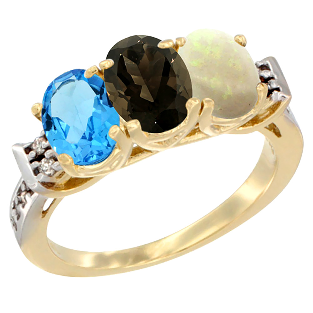 10K Yellow Gold Natural Swiss Blue Topaz, Smoky Topaz & Opal Ring 3-Stone Oval 7x5 mm Diamond Accent, sizes 5 - 10