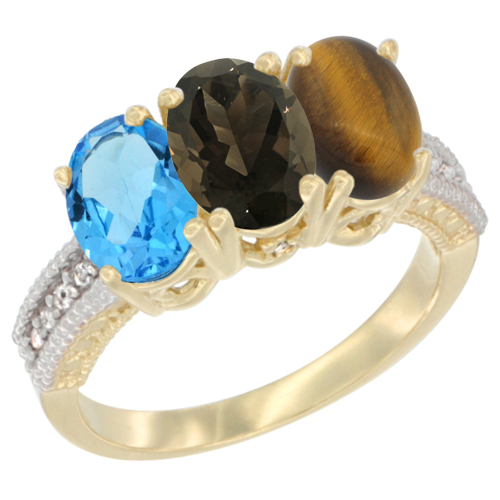 10K Yellow Gold Diamond Natural Swiss Blue Topaz, Smoky Topaz & Tiger Eye Ring 3-Stone Oval 7x5 mm, sizes 5 - 10