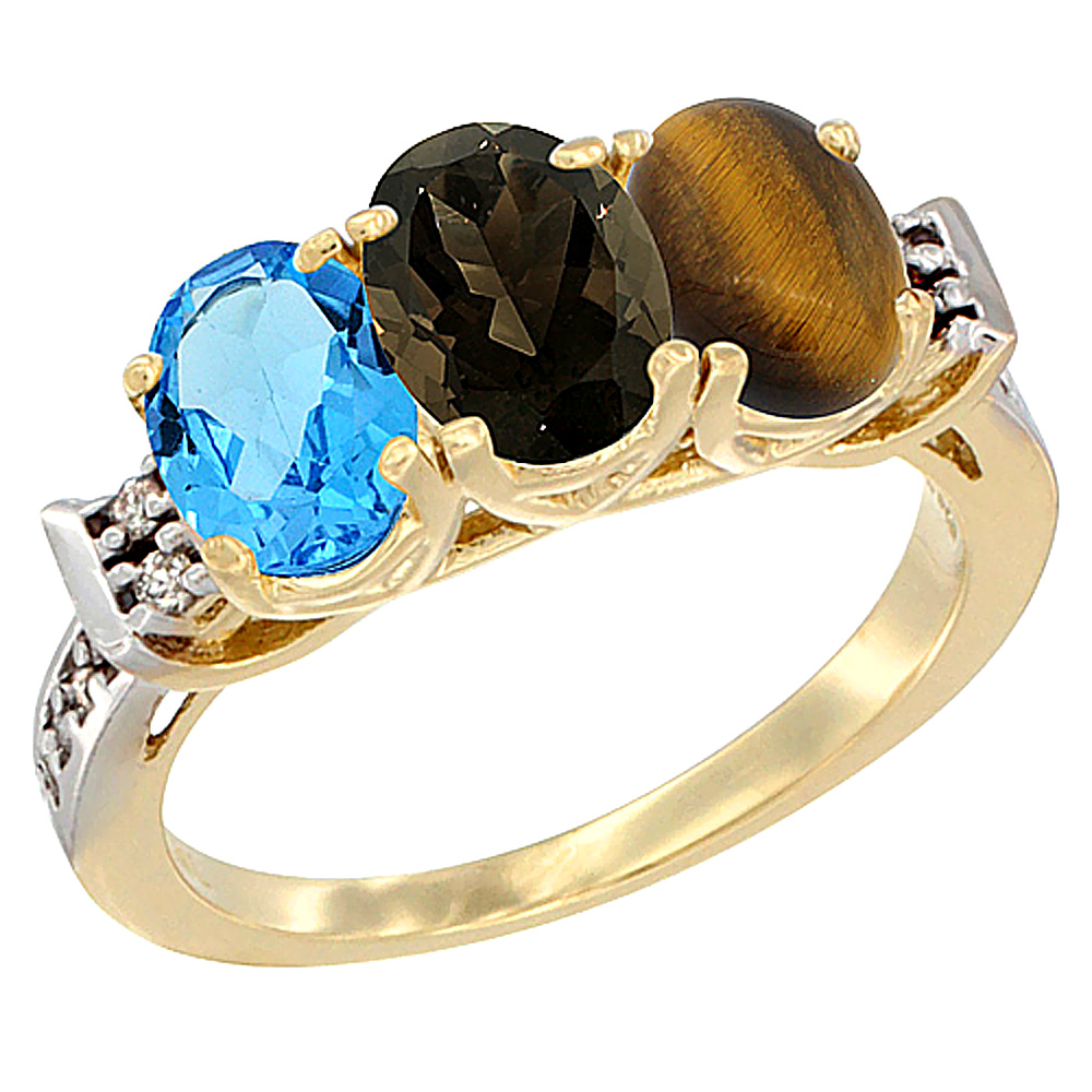 10K Yellow Gold Natural Swiss Blue Topaz, Smoky Topaz & Tiger Eye Ring 3-Stone Oval 7x5 mm Diamond Accent, sizes 5 - 10