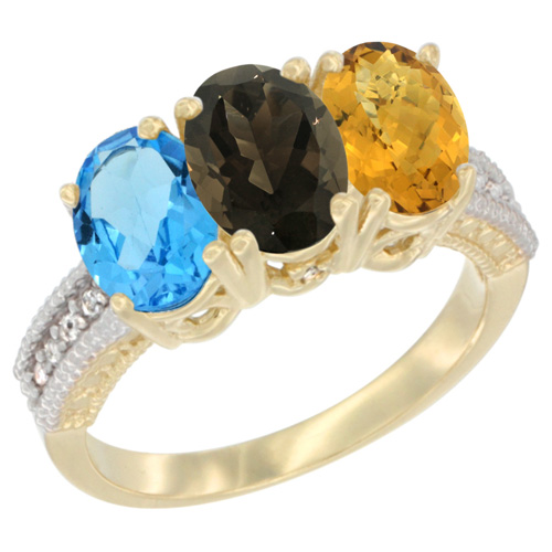 10K Yellow Gold Diamond Natural Swiss Blue Topaz, Smoky Topaz & Whisky Quartz Ring 3-Stone Oval 7x5 mm, sizes 5 - 10