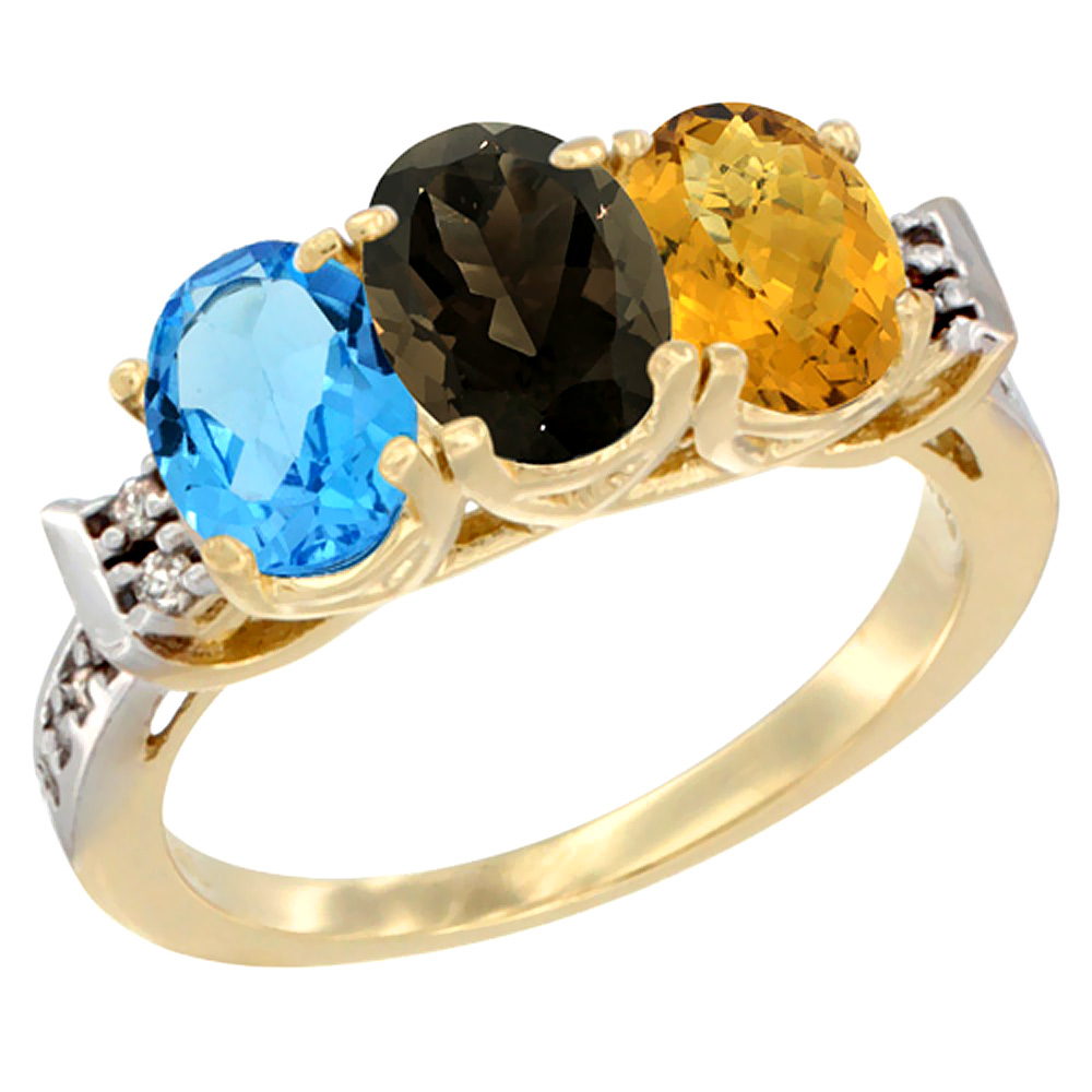 10K Yellow Gold Natural Swiss Blue Topaz, Smoky Topaz & Whisky Quartz Ring 3-Stone Oval 7x5 mm Diamond Accent, sizes 5 - 10