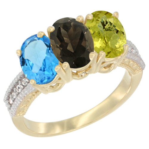 10K Yellow Gold Diamond Natural Swiss Blue Topaz, Smoky Topaz & Lemon Quartz Ring 3-Stone Oval 7x5 mm, sizes 5 - 10