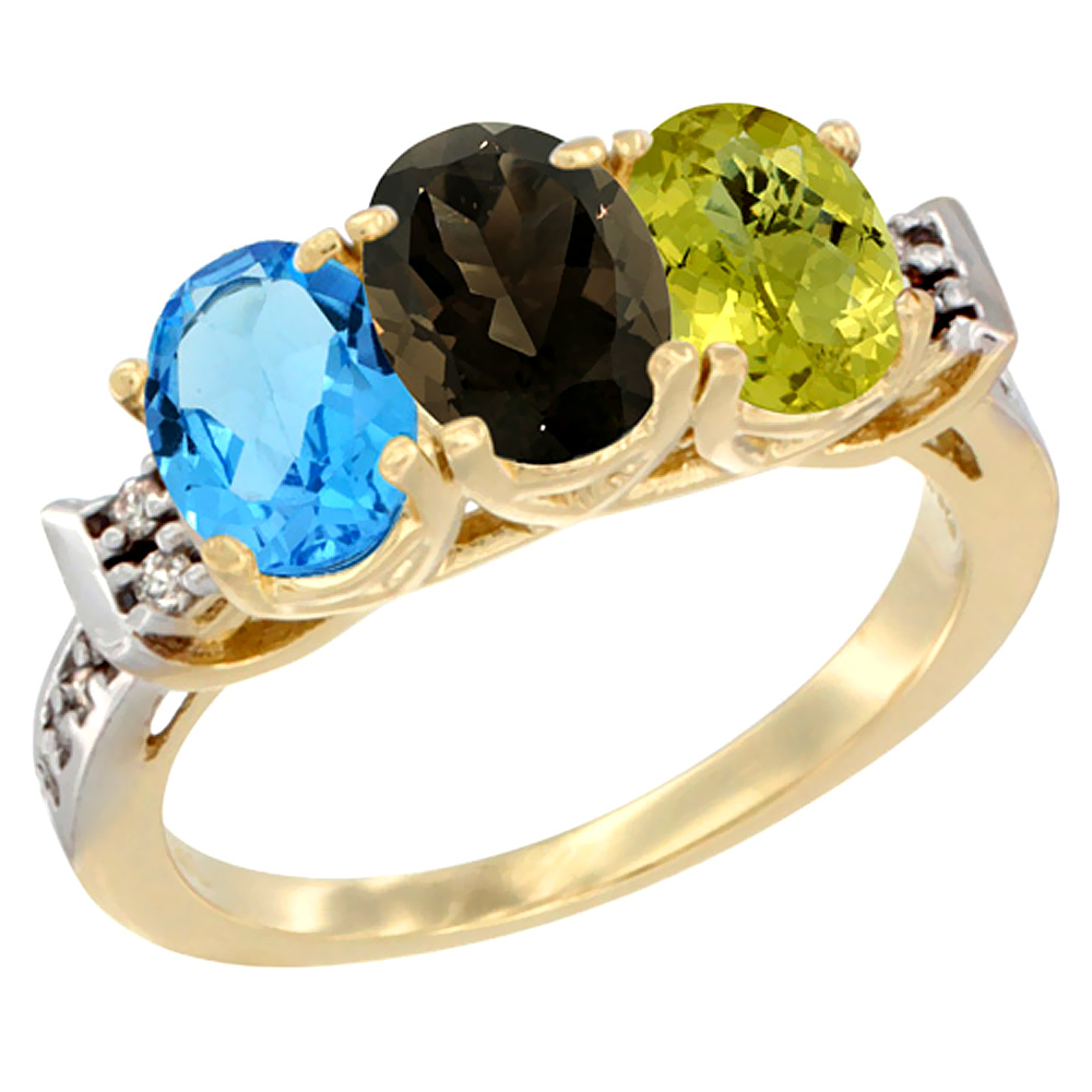 10K Yellow Gold Natural Swiss Blue Topaz, Smoky Topaz & Lemon Quartz Ring 3-Stone Oval 7x5 mm Diamond Accent, sizes 5 - 10
