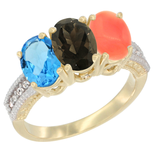 10K Yellow Gold Diamond Natural Swiss Blue Topaz, Smoky Topaz & Coral Ring 3-Stone Oval 7x5 mm, sizes 5 - 10