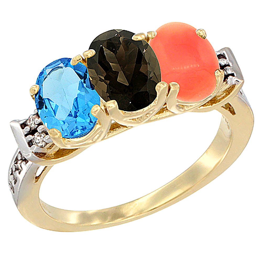10K Yellow Gold Natural Swiss Blue Topaz, Smoky Topaz & Coral Ring 3-Stone Oval 7x5 mm Diamond Accent, sizes 5 - 10