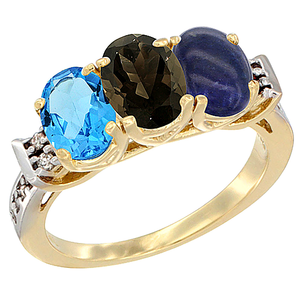10K Yellow Gold Natural Swiss Blue Topaz, Smoky Topaz & Lapis Ring 3-Stone Oval 7x5 mm Diamond Accent, sizes 5 - 10