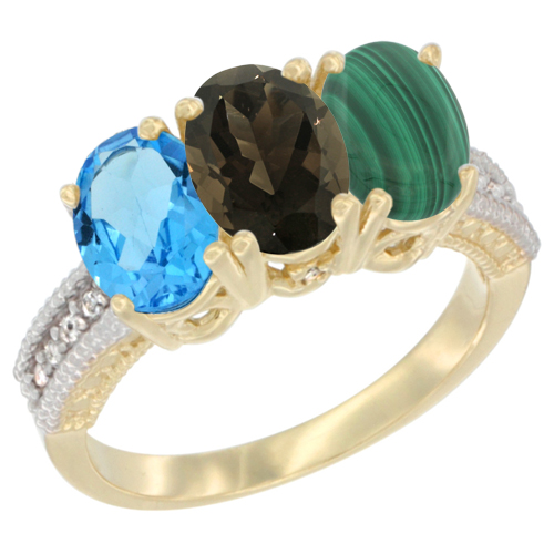 10K Yellow Gold Diamond Natural Swiss Blue Topaz, Smoky Topaz & Malachite Ring 3-Stone Oval 7x5 mm, sizes 5 - 10