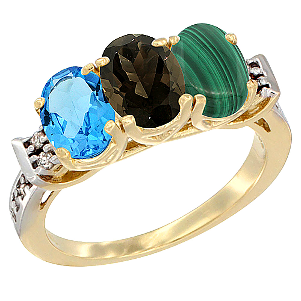 10K Yellow Gold Natural Swiss Blue Topaz, Smoky Topaz & Malachite Ring 3-Stone Oval 7x5 mm Diamond Accent, sizes 5 - 10