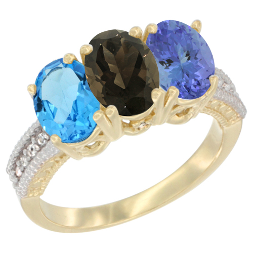 10K Yellow Gold Diamond Natural Swiss Blue Topaz, Smoky Topaz & Tanzanite Ring 3-Stone Oval 7x5 mm, sizes 5 - 10