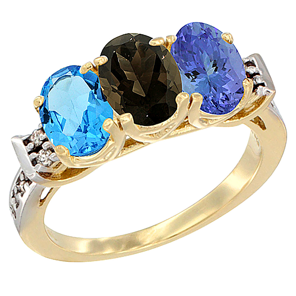 10K Yellow Gold Natural Swiss Blue Topaz, Smoky Topaz & Tanzanite Ring 3-Stone Oval 7x5 mm Diamond Accent, sizes 5 - 10