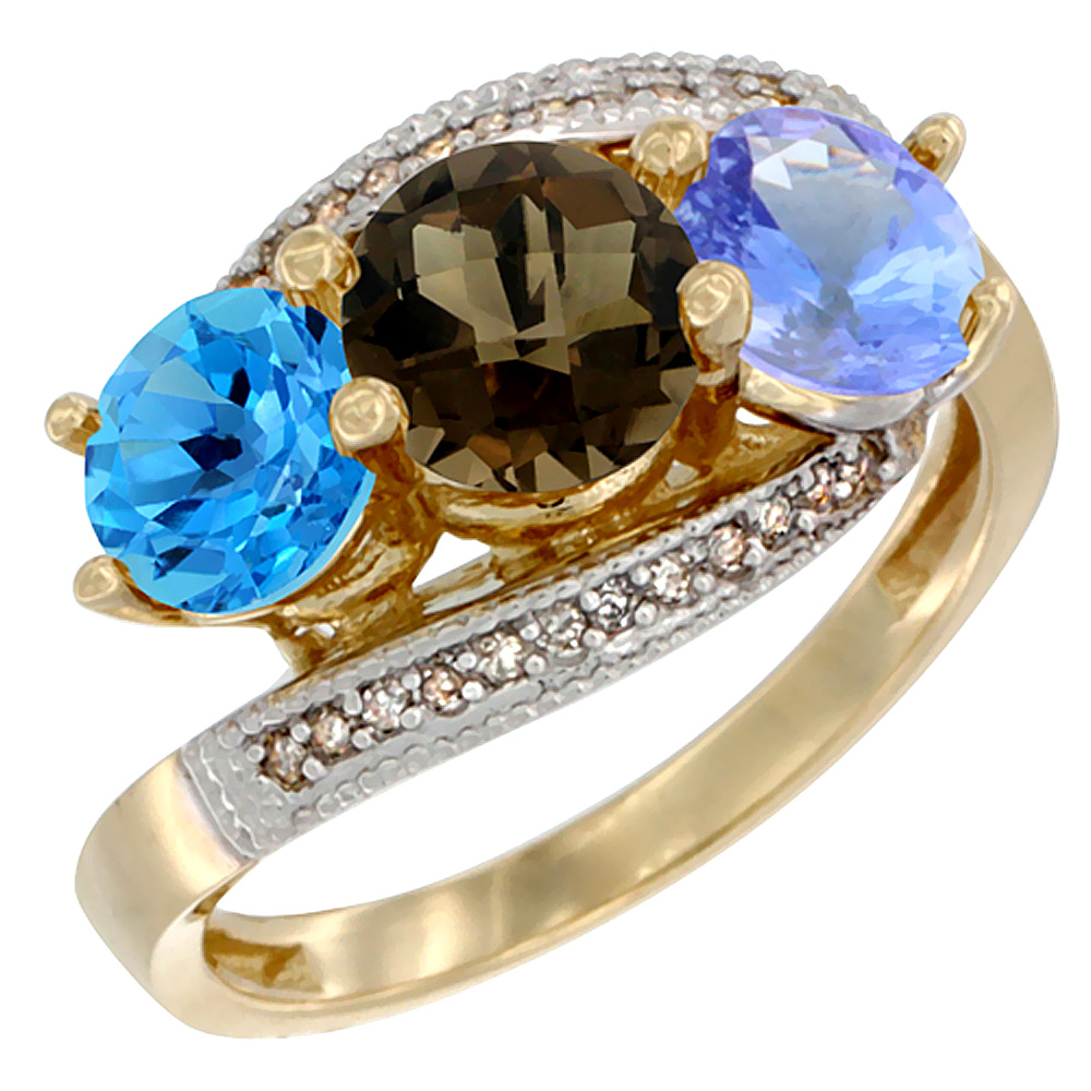 10K Yellow Gold Natural Swiss Blue Topaz, Smoky Topaz & Tanzanite 3 stone Ring Round 6mm Diamond Accent, sizes 5 - 10