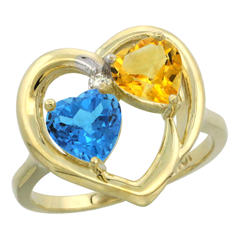 14K Yellow Gold Diamond Two-stone Heart Ring 6mm Natural Swiss Blue Topaz & Citrine, sizes 5-10