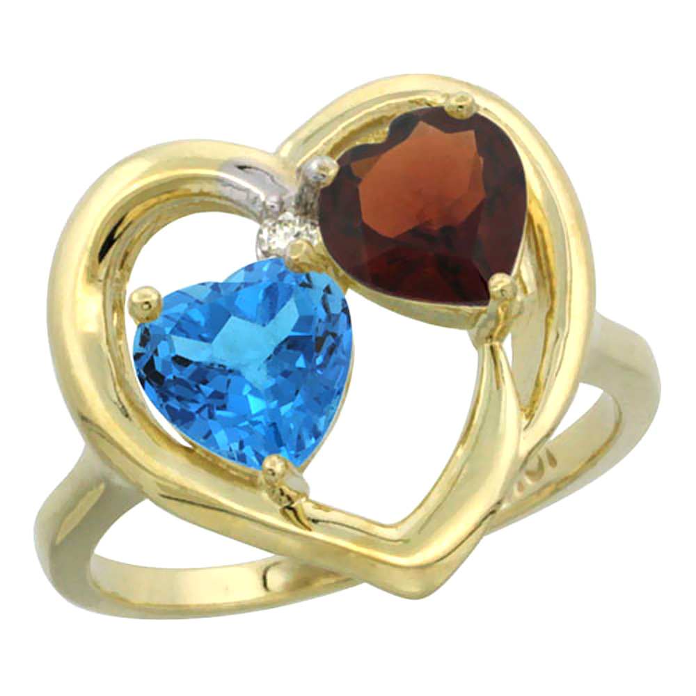 14K Yellow Gold Diamond Two-stone Heart Ring 6mm Natural Swiss Blue Topaz & Garnet, sizes 5-10