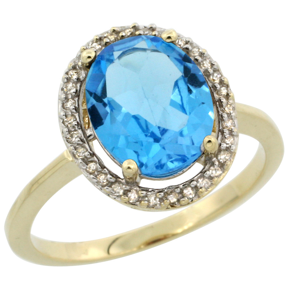10K Yellow Gold Diamond Halo Natural Swiss Blue Topaz Engagement Ring Oval 10x8 mm, sizes 5-10