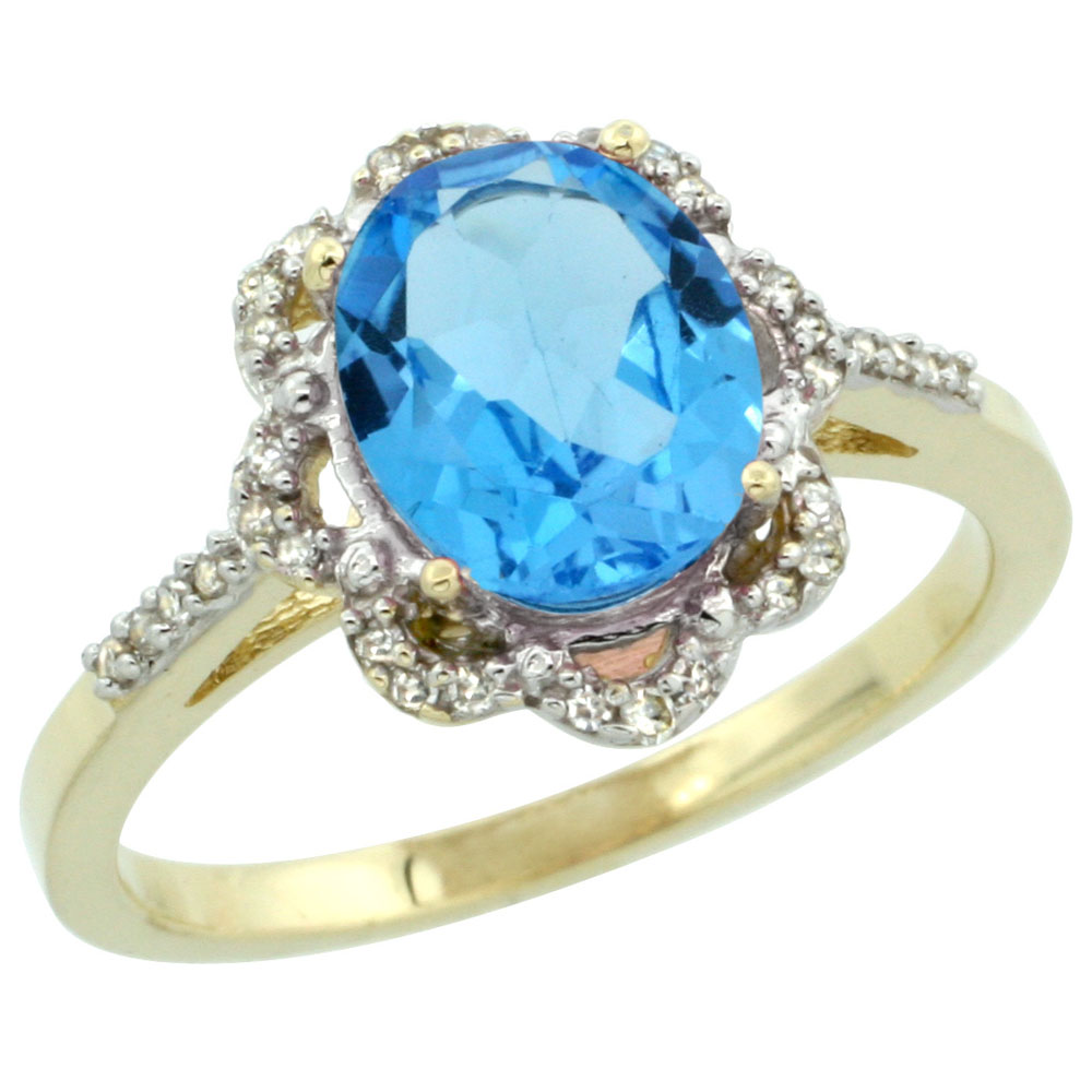 14K Yellow Gold Diamond Halo Natural Swiss Blue Topaz Engagement Ring Oval 9x7mm, sizes 5-10