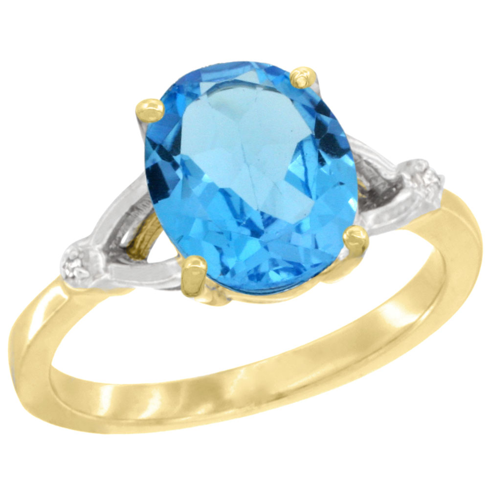 14K Yellow Gold Diamond Natural Swiss Blue Topaz Engagement Ring Oval 10x8mm, sizes 5-10