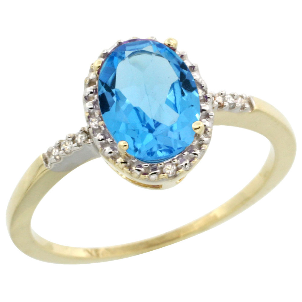 14K Yellow Gold Diamond Natural Swiss Blue Topaz Ring Oval 8x6mm, sizes 5-10
