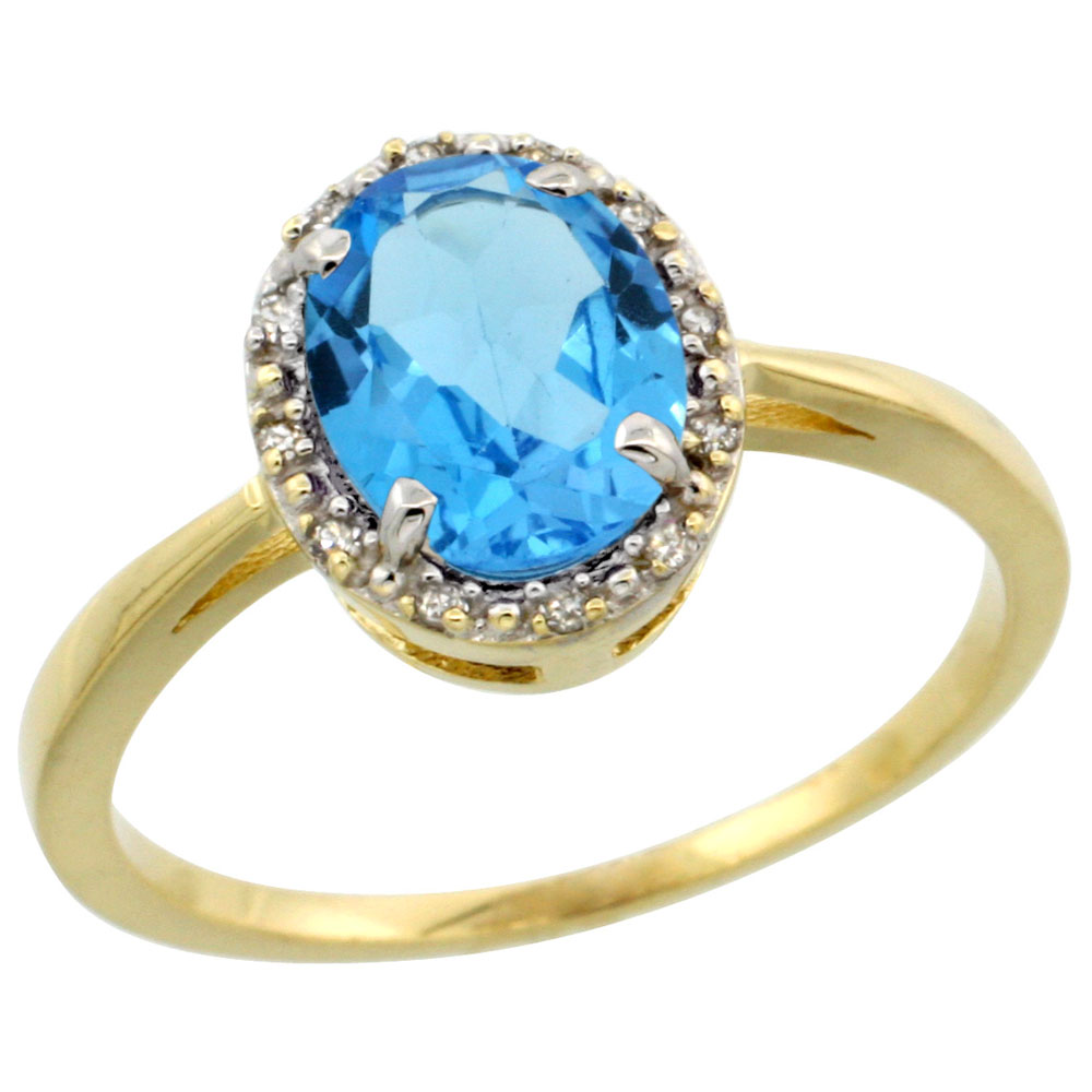 14K Yellow Gold Natural Swiss Blue Topaz Ring Oval 8x6 mm Diamond Halo, sizes 5-10