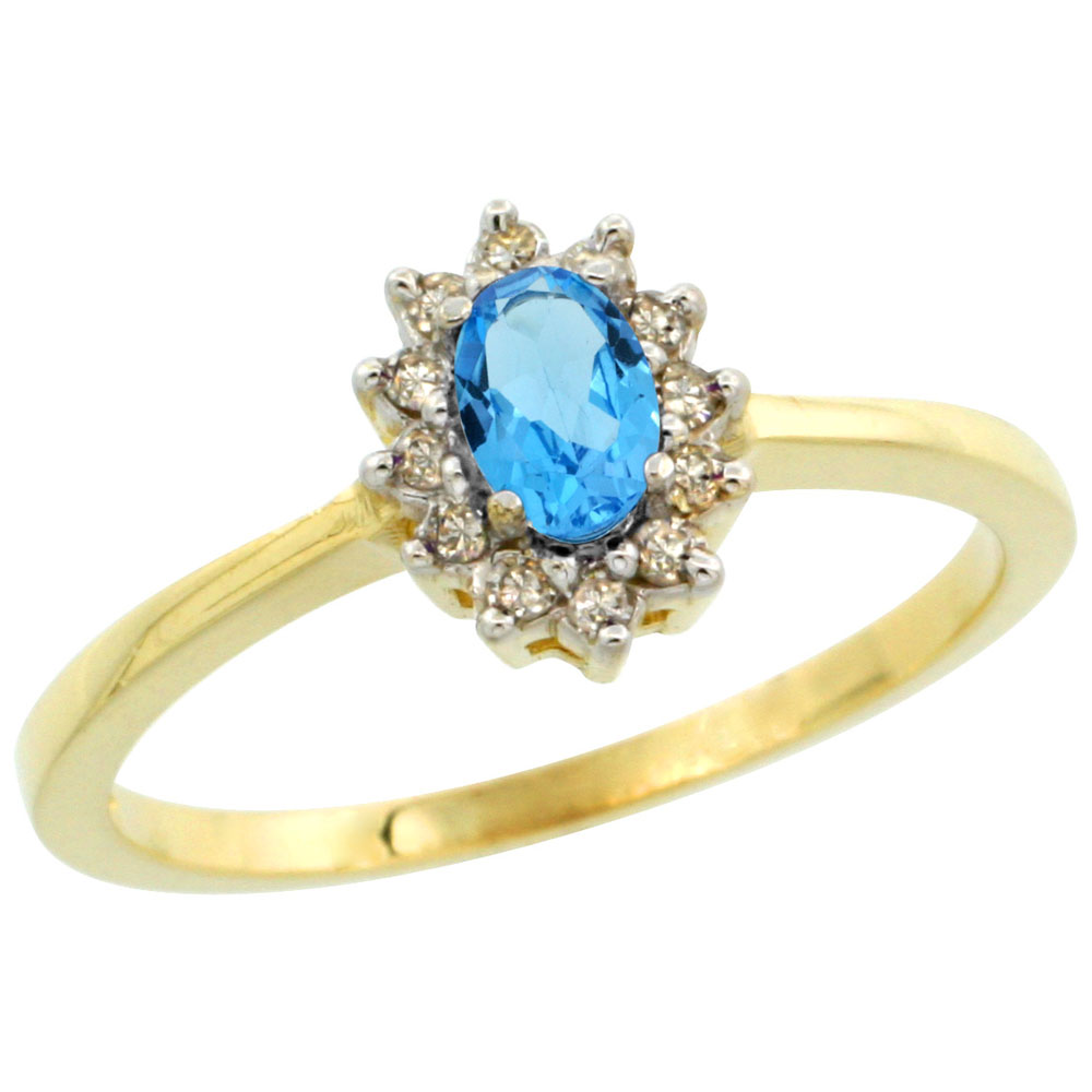 14K Yellow Gold Natural Swiss Blue Topaz Ring Oval 5x3mm Diamond Halo, sizes 5-10