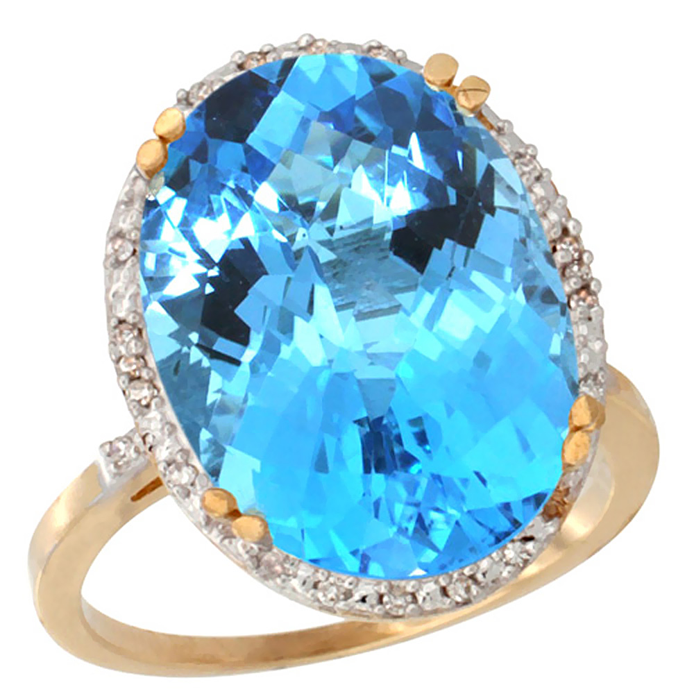14K Yellow Gold Natural Swiss Blue Topaz Ring Large Oval 18x13mm Diamond Halo, sizes 5-10