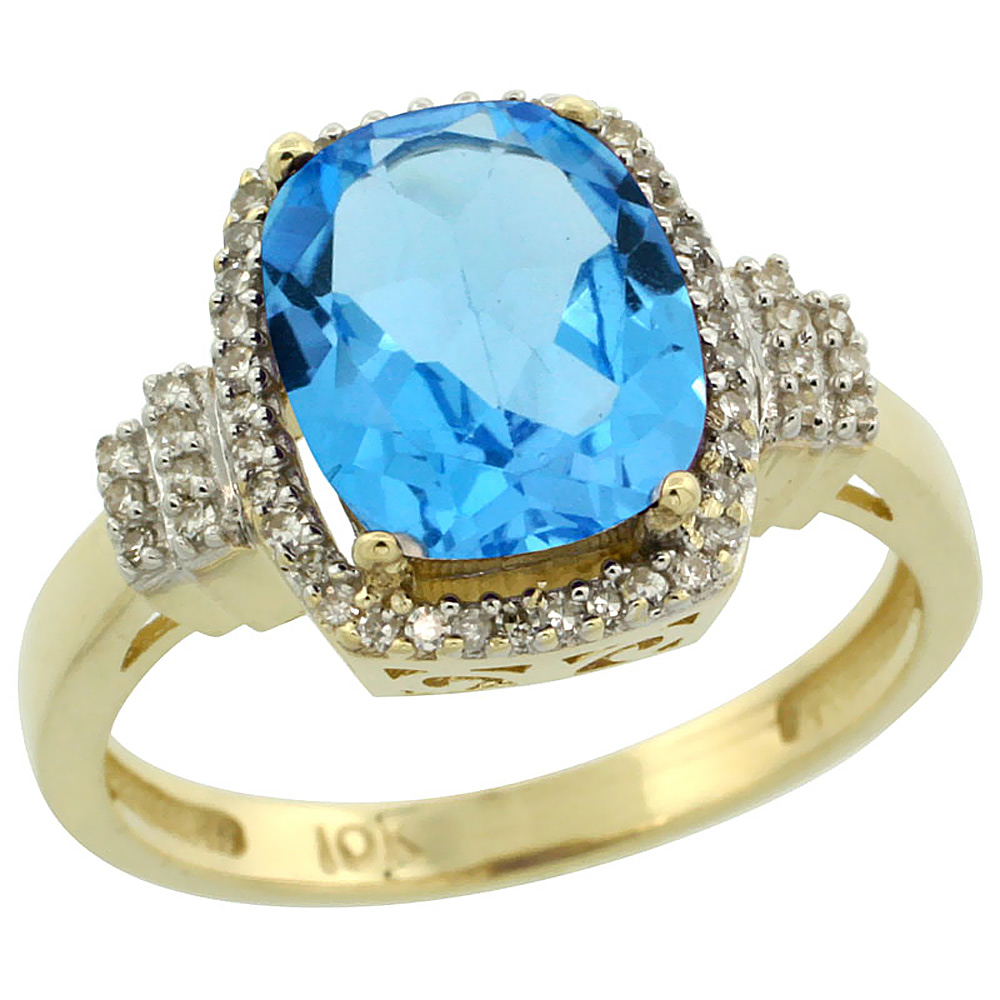 14K Yellow Gold Natural Swiss Blue Topaz Ring Cushion-cut 9x7mm Diamond Halo, sizes 5-10