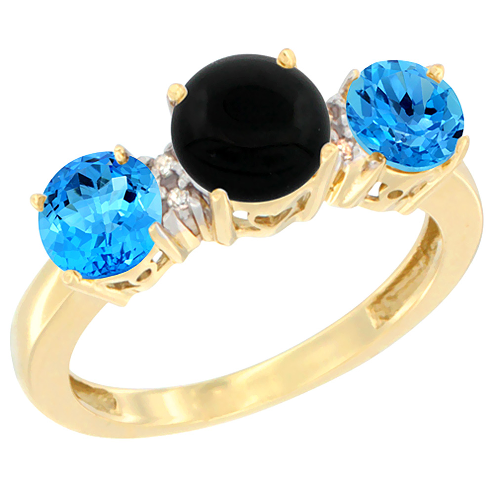 10K Yellow Gold Round 3-Stone Natural Black Onyx Ring & Swiss Blue Topaz Sides Diamond Accent, sizes 5 - 10
