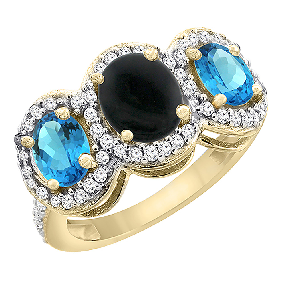 10K Yellow Gold Natural Black Onyx & Swiss Blue Topaz 3-Stone Ring Oval Diamond Accent, sizes 5 - 10