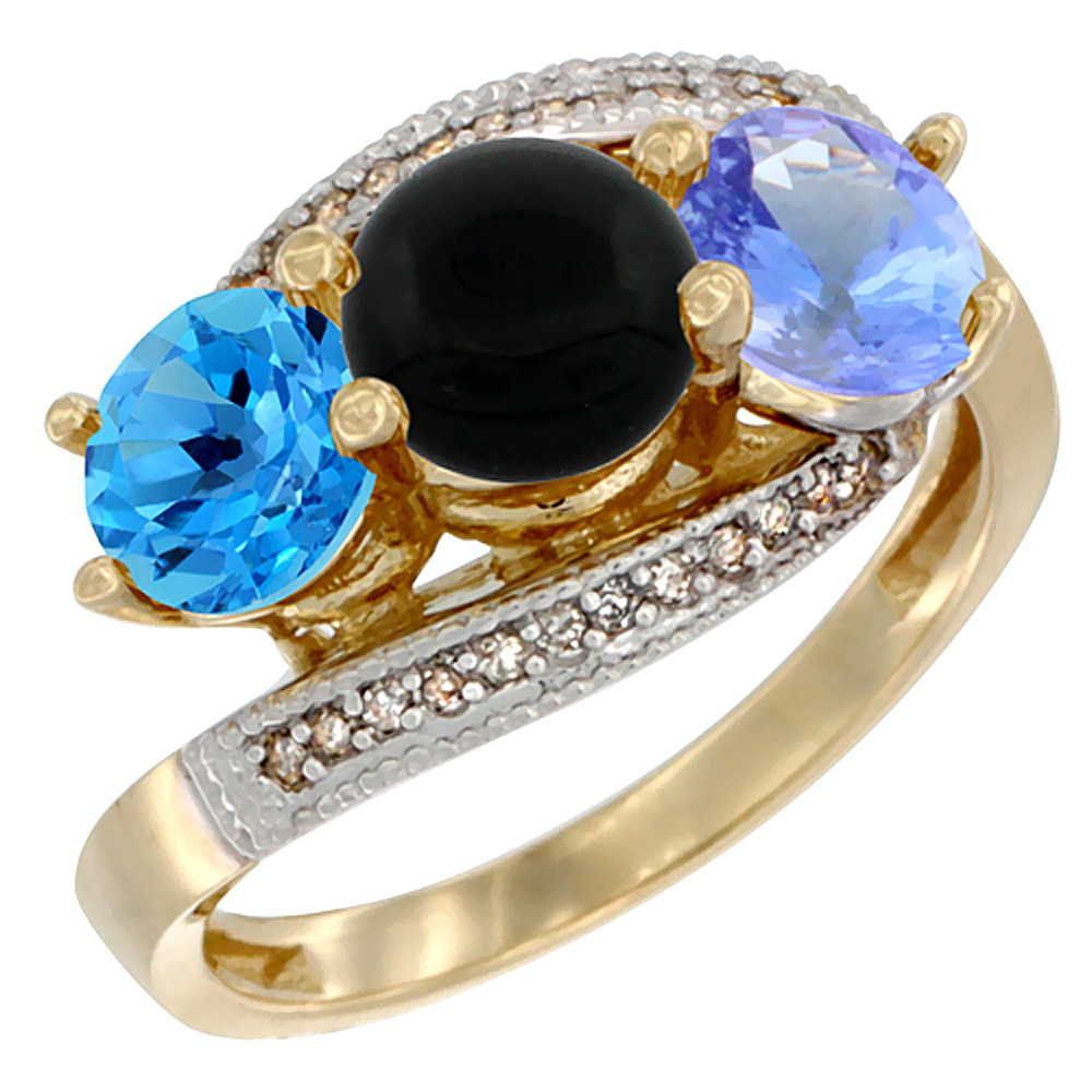 10K Yellow Gold Natural Swiss Blue Topaz, Black Onyx & Tanzanite 3 stone Ring Round 6mm Diamond Accent, sizes 5 - 10