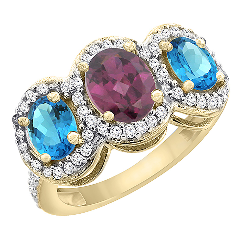 14K Yellow Gold Natural Rhodolite & Swiss Blue Topaz 3-Stone Ring Oval Diamond Accent, sizes 5 - 10