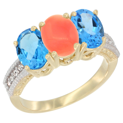 10K Yellow Gold Diamond Natural Coral & Swiss Blue Topaz Ring 3-Stone Oval 7x5 mm, sizes 5 - 10