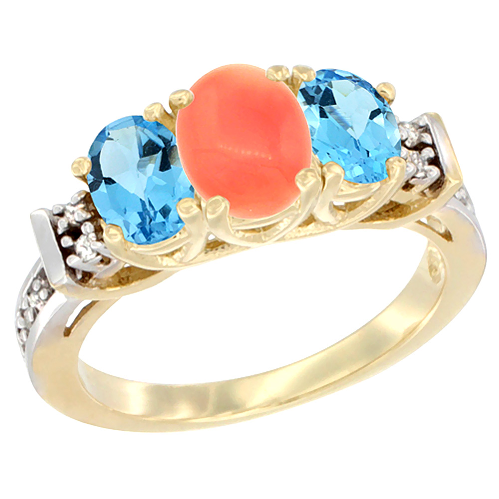 10K Yellow Gold Natural Coral & Swiss Blue Topaz Ring 3-Stone Oval Diamond Accent