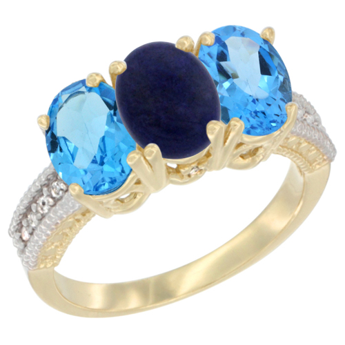 10K Yellow Gold Diamond Natural Lapis & Swiss Blue Topaz Ring 3-Stone Oval 7x5 mm, sizes 5 - 10