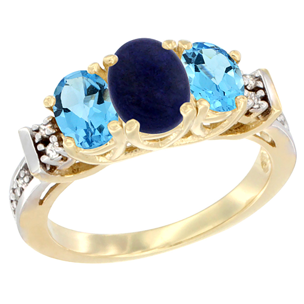 14K Yellow Gold Natural Lapis & Swiss Blue Topaz Ring 3-Stone Oval Diamond Accent