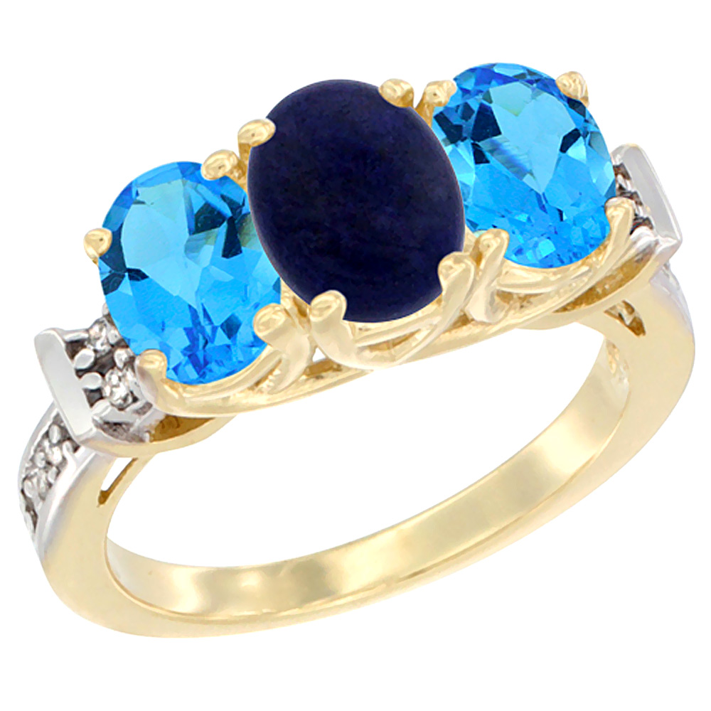 10K Yellow Gold Natural Lapis & Swiss Blue Topaz Sides Ring 3-Stone Oval Diamond Accent, sizes 5 - 10