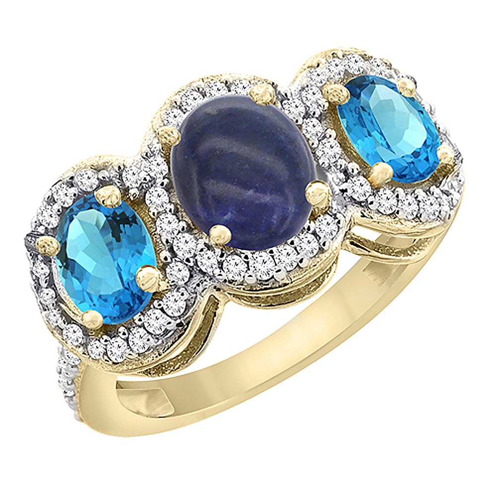 10K Yellow Gold Natural Lapis & Swiss Blue Topaz 3-Stone Ring Oval Diamond Accent, sizes 5 - 10