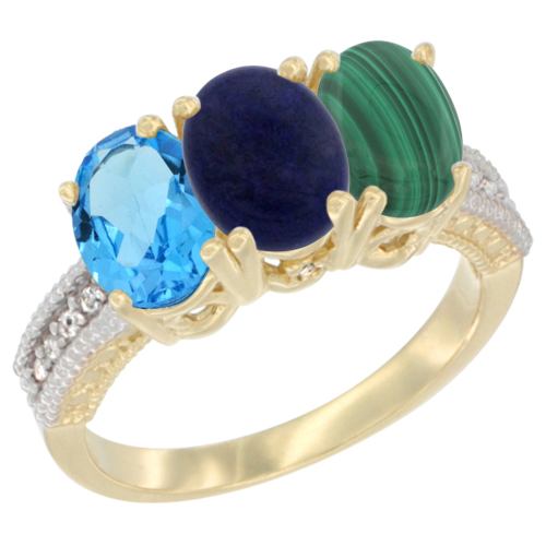 10K Yellow Gold Diamond Natural Swiss Blue Topaz, Lapis & Malachite Ring 3-Stone Oval 7x5 mm, sizes 5 - 10