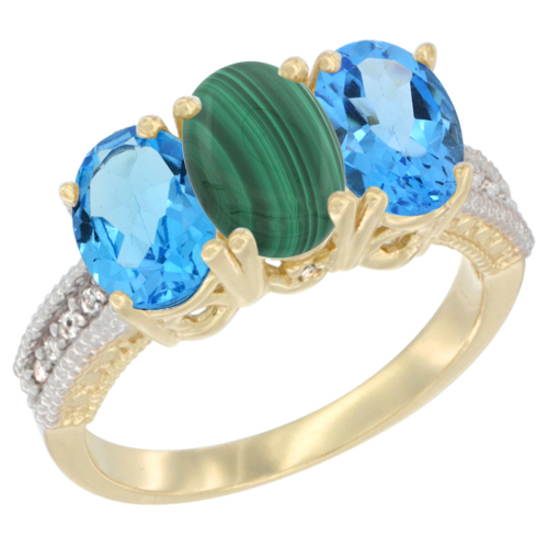 10K Yellow Gold Diamond Natural Malachite & Swiss Blue Topaz Ring 3-Stone Oval 7x5 mm, sizes 5 - 10