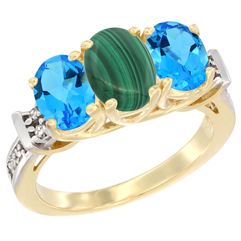 10K Yellow Gold Natural Malachite & Swiss Blue Topaz Sides Ring 3-Stone Oval Diamond Accent, sizes 5 - 10