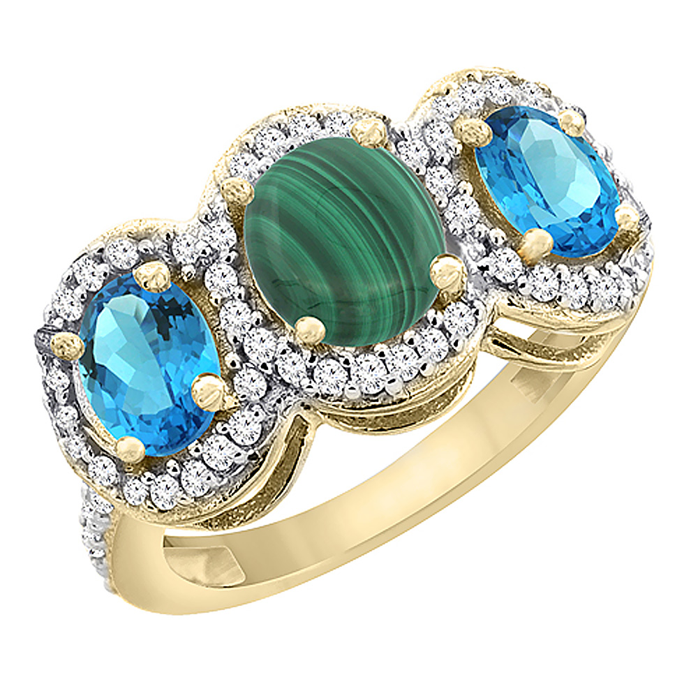 14K Yellow Gold Natural Malachite & Swiss Blue Topaz 3-Stone Ring Oval Diamond Accent, sizes 5 - 10