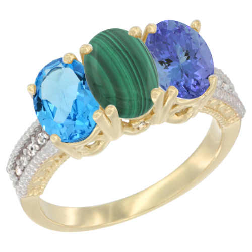 14K Yellow Gold Natural Swiss Blue Topaz, Malachite & Tanzanite Ring 3-Stone 7x5 mm Oval Diamond Accent, sizes 5 - 10