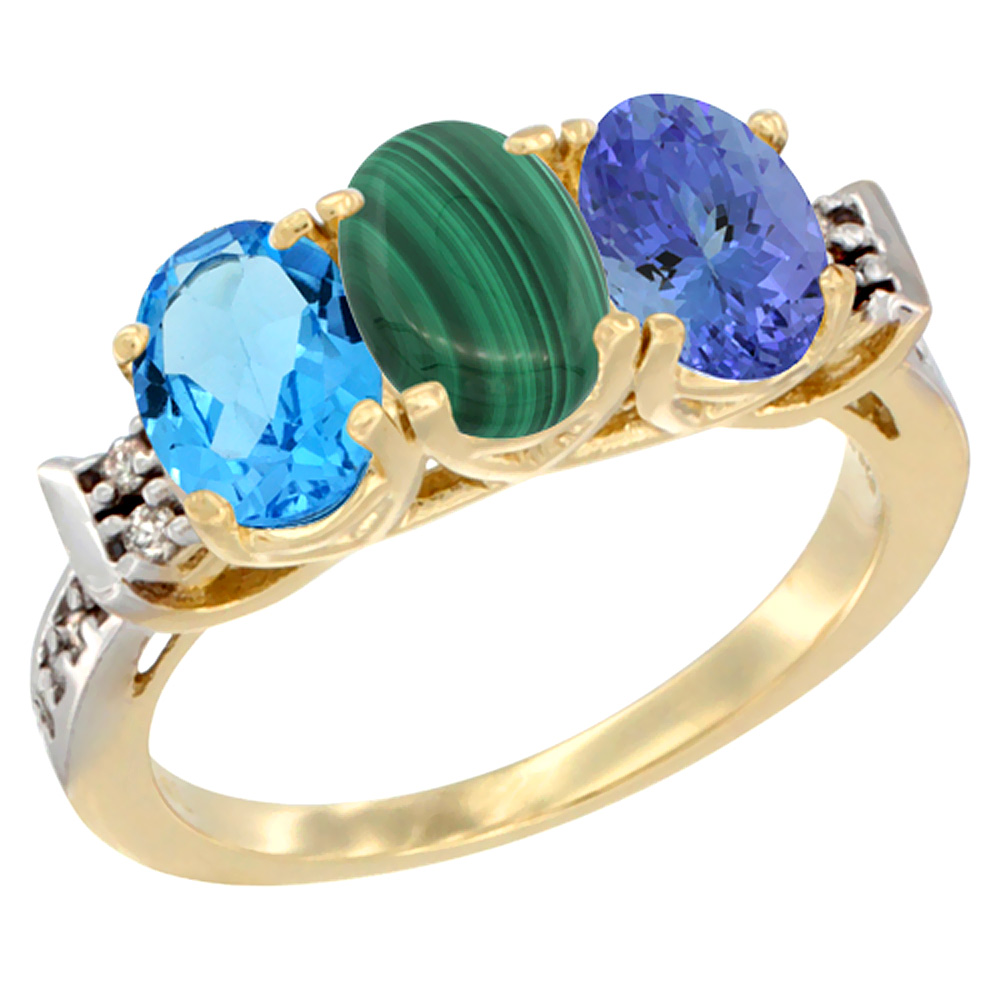 10K Yellow Gold Natural Swiss Blue Topaz, Malachite & Tanzanite Ring 3-Stone Oval 7x5 mm Diamond Accent, sizes 5 - 10
