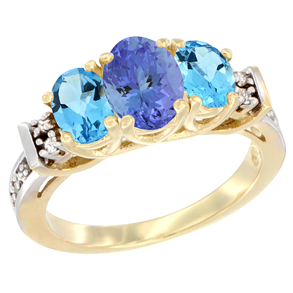 14K Yellow Gold Natural Tanzanite & Swiss Blue Topaz Ring 3-Stone Oval Diamond Accent
