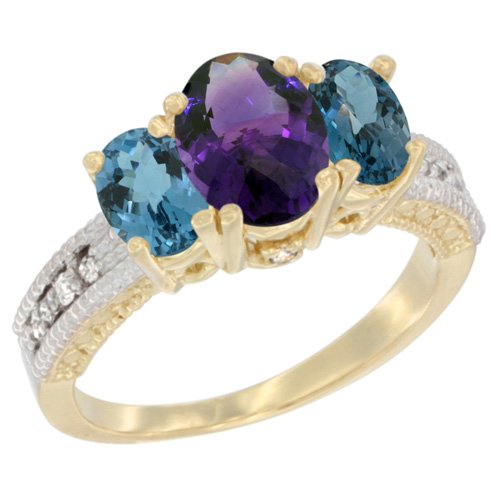 10K Yellow Gold Diamond Natural Amethyst Ring Oval 3-stone with London Blue Topaz, sizes 5 - 10