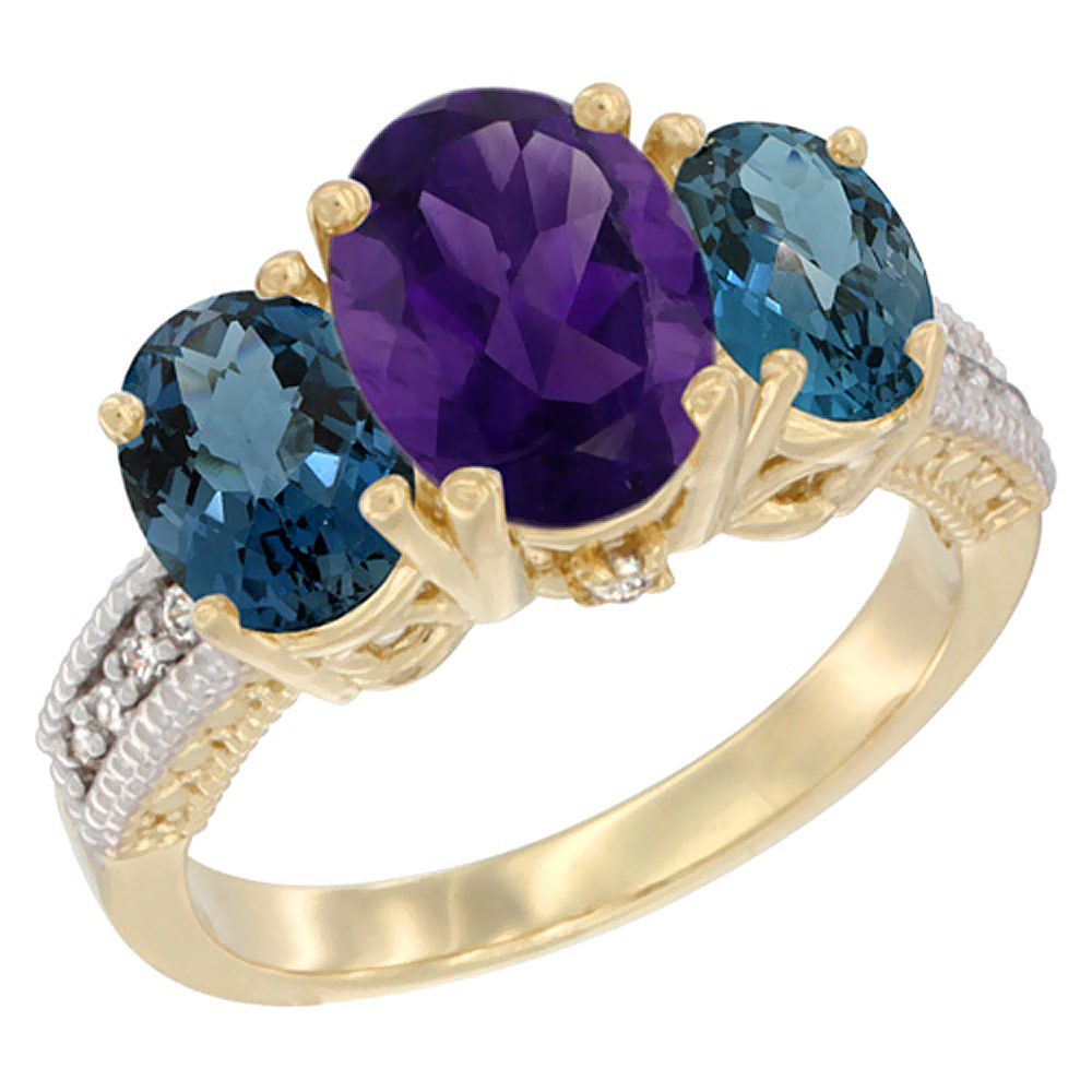 10K Yellow Gold Natural Amethyst Ring Ladies 3-Stone 8x6 Oval with London Blue Topaz Sides Diamond Accent, sizes 5 - 10