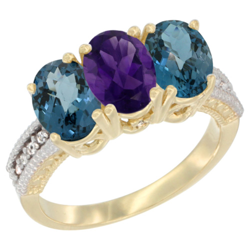 10K Yellow Gold Diamond Natural Amethyst & London Blue Topaz Ring 3-Stone Oval 7x5 mm, sizes 5 - 10