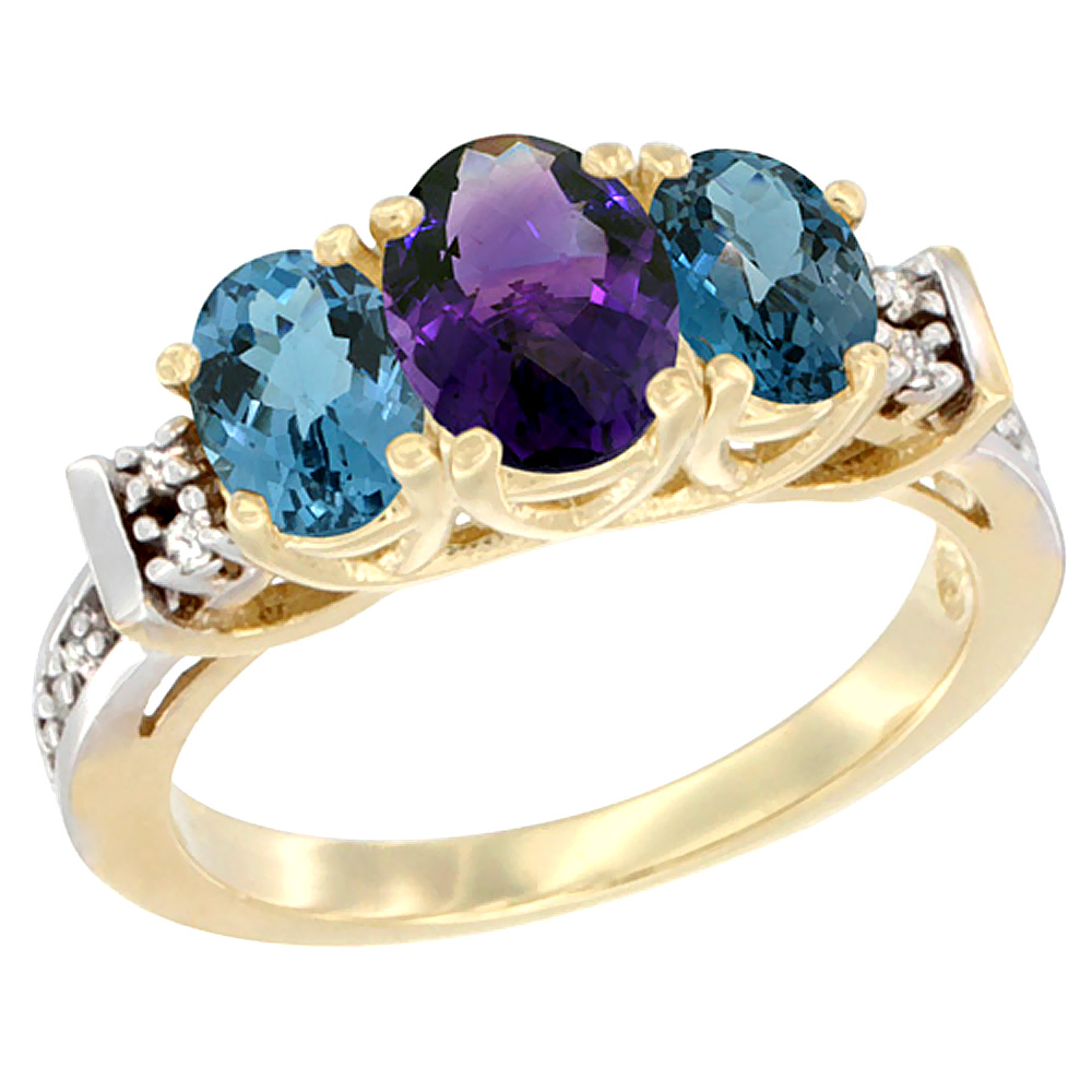 10K Yellow Gold Natural Amethyst & London Blue Topaz Ring 3-Stone Oval Diamond Accent